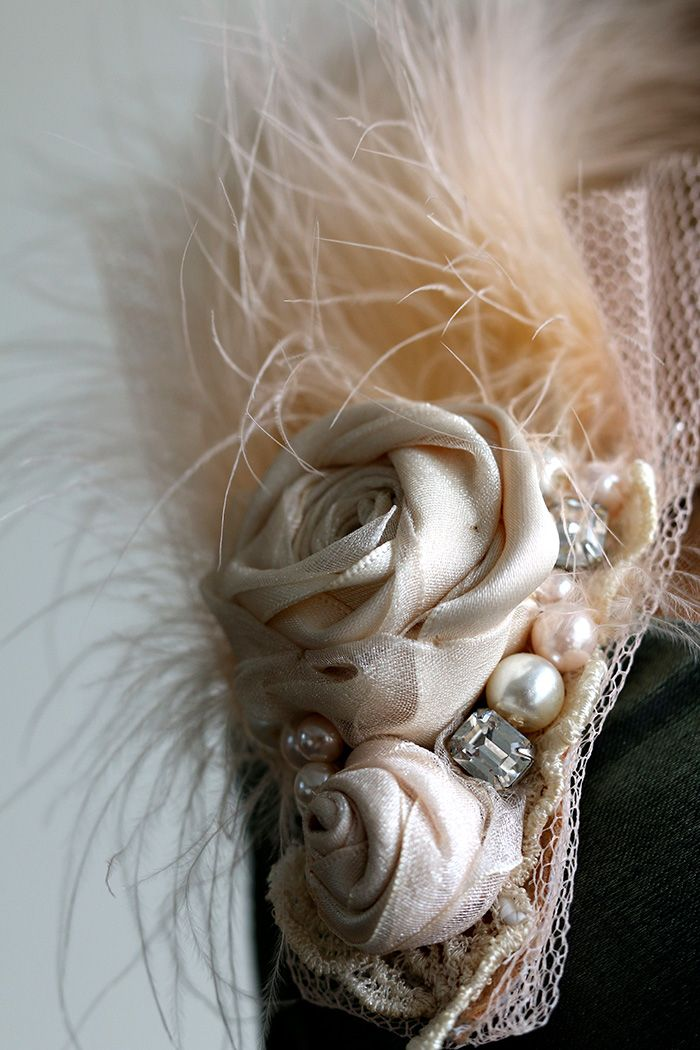 Feather Fascinator Brooch In Champagne